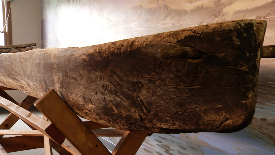 The bow of the Chippewa River Dugout Canoe